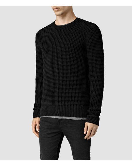 AllSaints | Black Kargg Crew Sweater Usa Usa for Men | Lyst