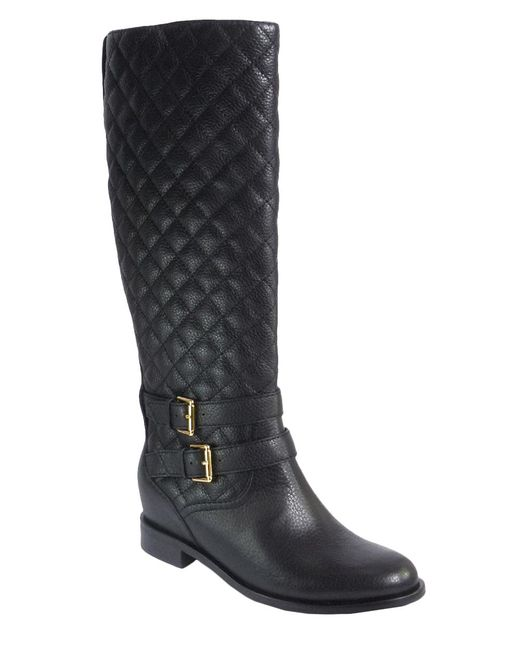 Kate Spade | Black Sutton Quilted Leather Boots | Lyst
