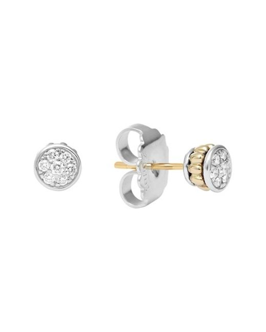 Lagos | Metallic Diamond & Caviar Stud Earrings | Lyst