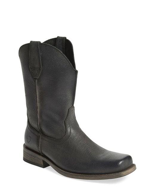 Ariat Rambler Leather Boot In Black For Men Black