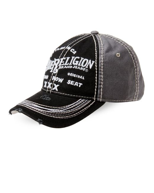 True Religion | Black Distressed Embroidered Baseball Cap for Men | Lyst