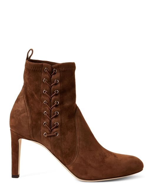 10dd84b8880 ... Jimmy Choo - Brown Cedar Mallory Laced Suede Ankle Boots - Lyst ...