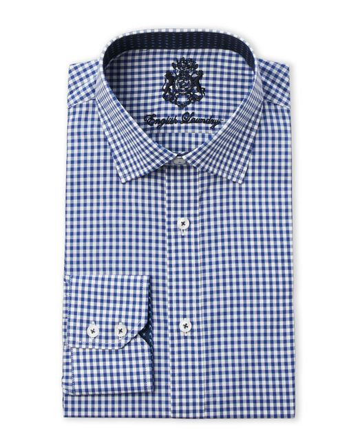 English Laundry Navy Gingham Dress Shirt In Blue For Men