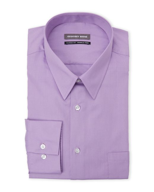 Geoffrey beene lilac classic fit dress shirt in purple for for Mens lilac dress shirt