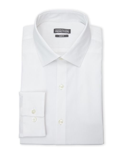 Kenneth cole reaction white slim fit non iron dress shirt for Non iron slim fit dress shirts