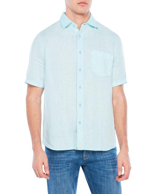 Raffi patch pocket linen shirt in blue for men lyst for Century 21 dress shirts