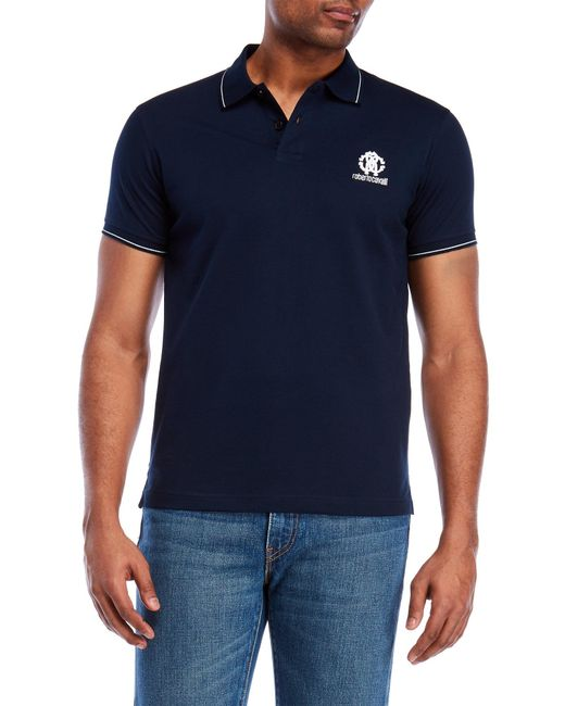 Roberto Cavalli - Blue Tipped Logo Pique Polo for Men - Lyst