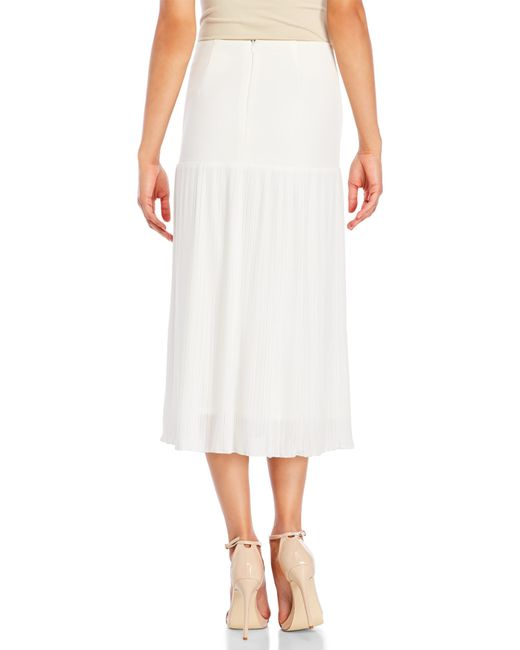 etienne aigner ivory pleated midi skirt in white ivory