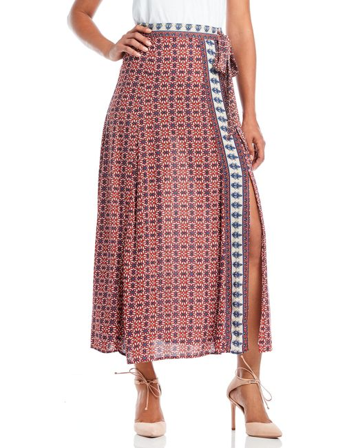 jealous tomato printed side tie maxi skirt in lyst