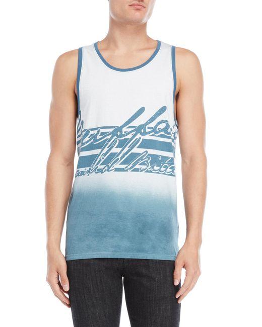 Buffalo David Bitton - Blue Graphic Muscle Tank for Men - Lyst