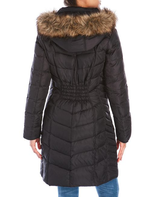 Michael Kors Faux Fur Trim Hooded Down Coat In Black Lyst