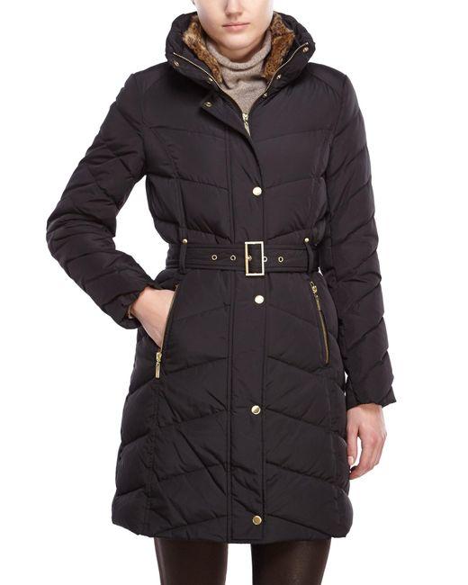 Cole Haan | Black Faux Fur Trim Belted Coat | Lyst