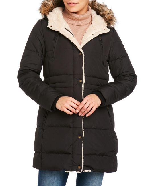 Lauren by Ralph Lauren | Black Cold Weather Hooded Down Coat | Lyst