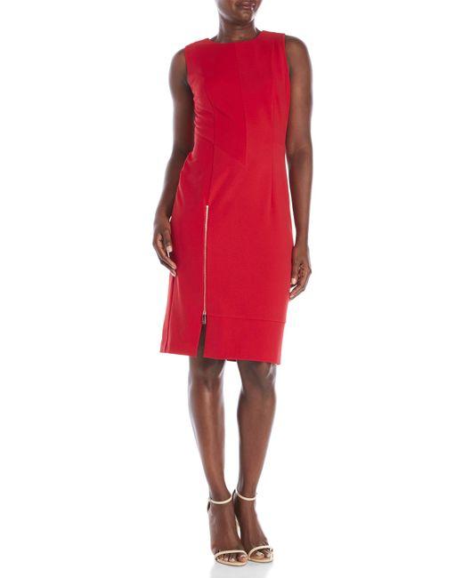 Ivanka Trump | Red Scuba Crepe Midi Dress | Lyst