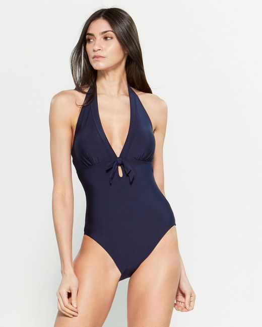 dae750a2b5678 DKNY - Blue Halter Bow One-piece Swimsuit - Lyst ...