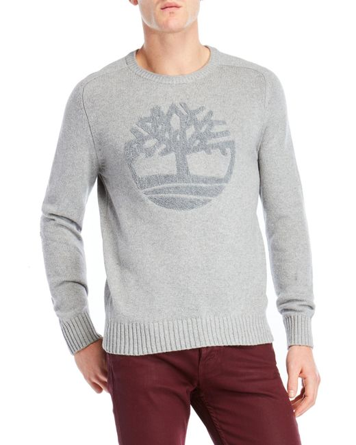Timberland - Gray Logo Pullover Sweater for Men - Lyst