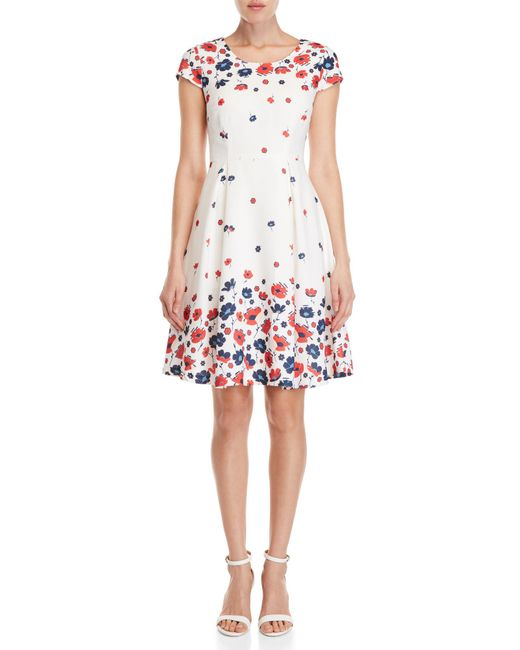 Yumi' - White Graduated Retro Flower Print Dress - Lyst