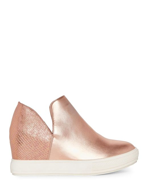 Wanted Rose Gold Adiron Metallic Wedge Sneakers in Pink | Lyst