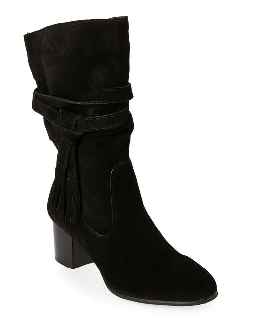tahari black johnny suede tassel boots in black lyst