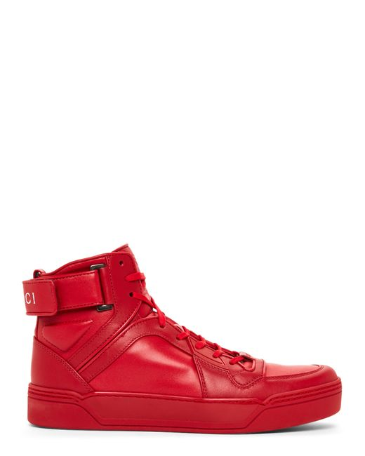 gucci new basketball leather high top sneakers in red for