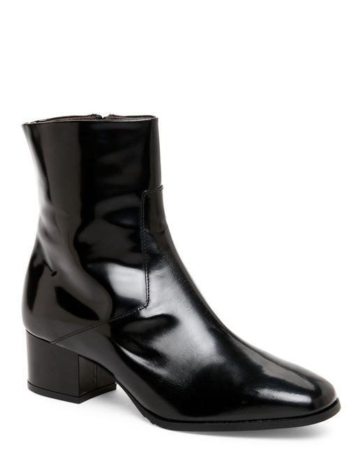 gabriella black leather low heel ankle boots in black lyst