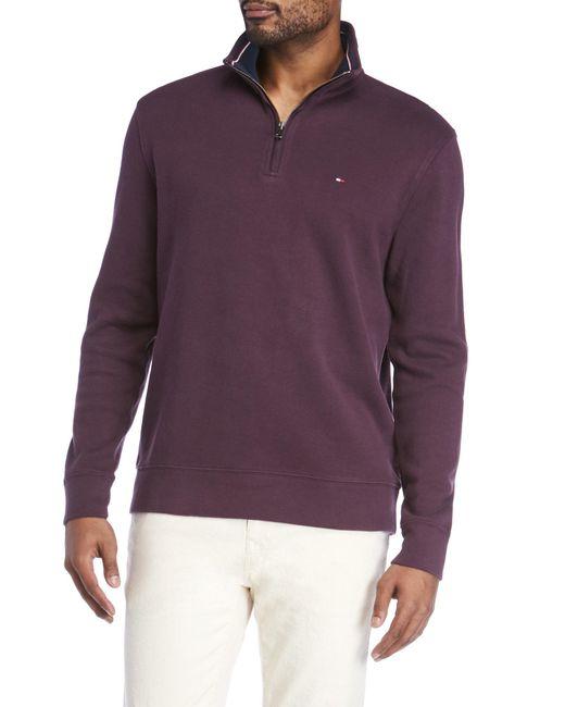 Tommy Hilfiger | Purple Mill Mock Neck Zip Sweater for Men | Lyst