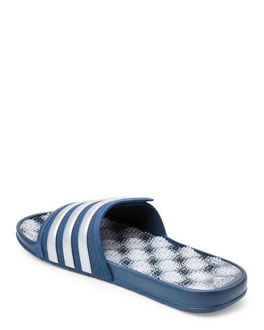 Adidas Originals Blue Amp White Adissage 2 0 Slide Sandals