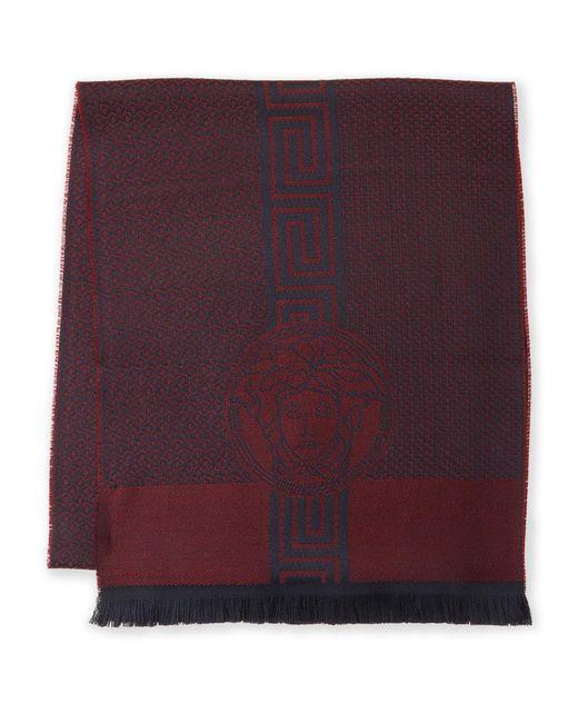 Versace - Purple Greek Key Logo Wool Scarf - Lyst