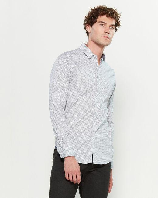 Dstrezzed White Minimal Dot Stretch Poplin Long Sleeve Sport Shirt for men