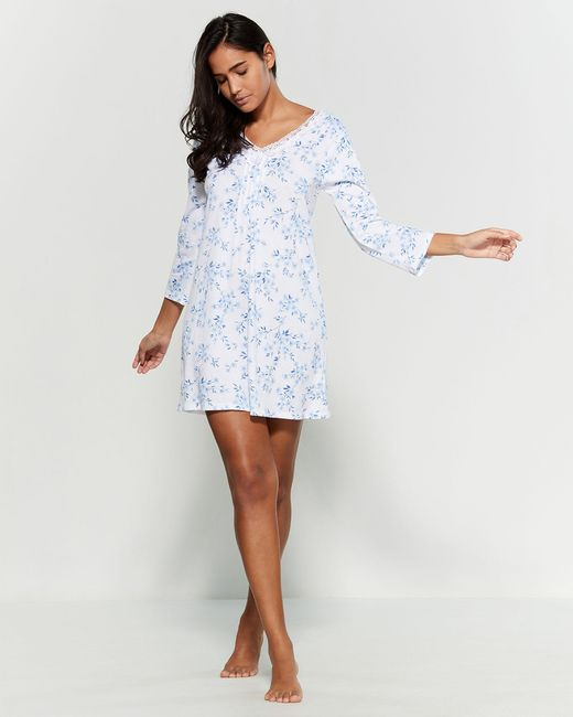 Carole Hochman White Three-quarter Sleeve Short Nightgown
