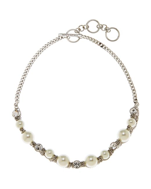 Givenchy | Black Silver-Tone Faux Pearl Necklace | Lyst