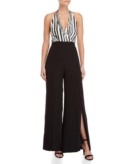 BCBGMAXAZRIA - Black Striped Halter Jumpsuit - Lyst