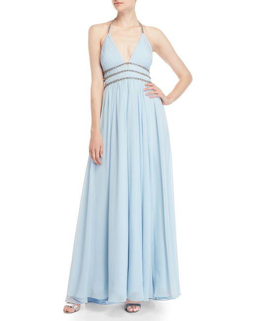 Badgley Mischka - Blue Embellished Pleated Halter Neck Gown - Lyst