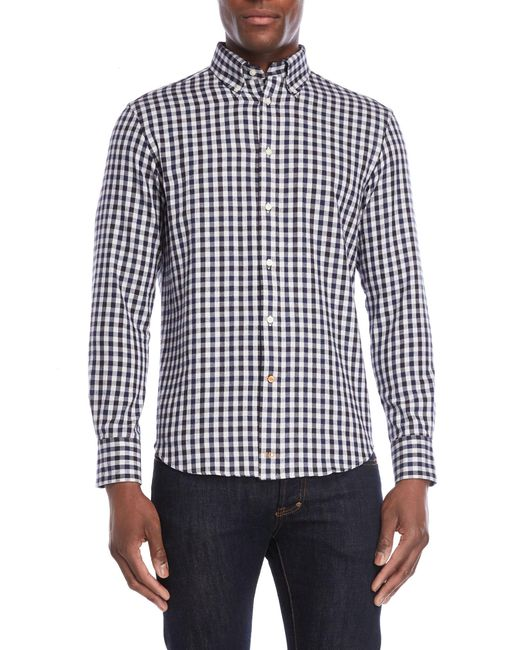 Thomas Dean Blue Navy Checked Flannel Shirt for men