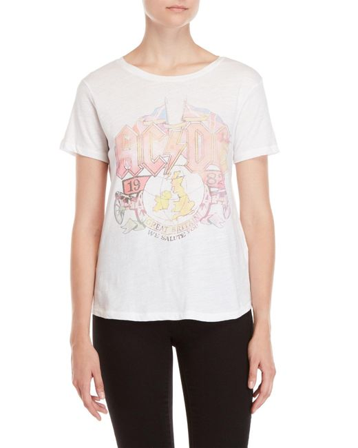 Lucky Brand - White Ac/dc Faded Tee - Lyst
