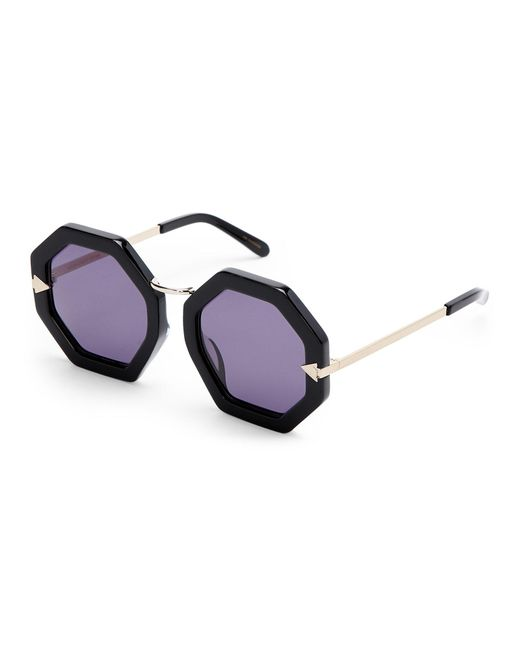Karen Walker | Black Moon Disco Octagonal Sunglasses | Lyst