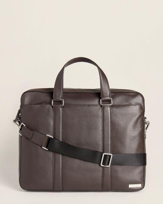 Calvin Klein Brown Bombe Leather Briefcase for men