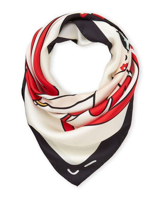 Moschino Red Printed Silk Scarf