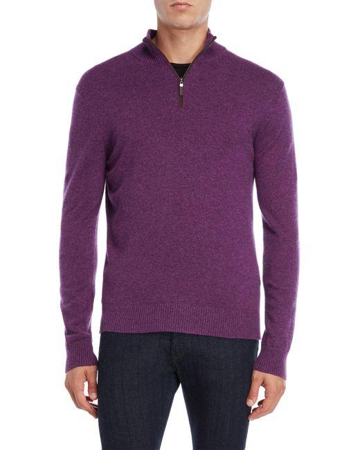 Qi - Multicolor Suede Trim Quarter-zip Cashmere Sweater for Men - Lyst