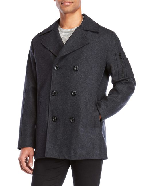 Buffalo David Bitton - Gray Charcoal Peacoat for Men - Lyst