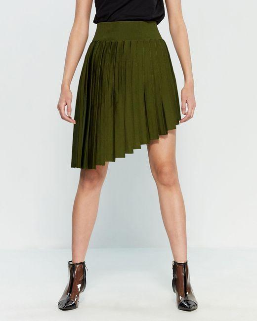 dfb28b5456 Balmain Dark Green Pleated Asymmetrical Skirt in Green - Lyst
