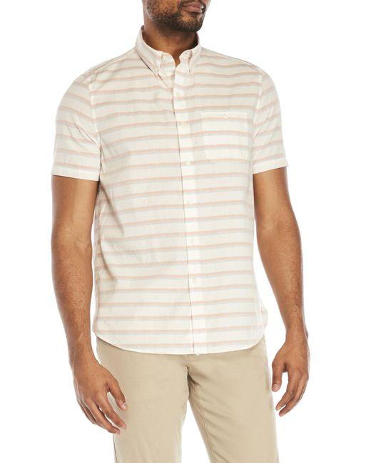 Michael bastian horizontal stripe shirt in white for men for Horizontal striped dress shirts men