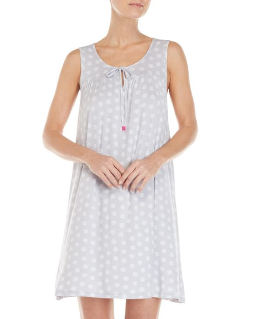 Ellen Tracy - Gray Sleeveless Printed Nightgown - Lyst