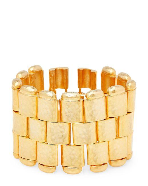 Kenneth Jay Lane - Metallic Satin Gold-tone Hammered Bracelet - Lyst