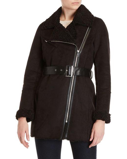 DKNY - Black Faux Shearling Coat - Lyst