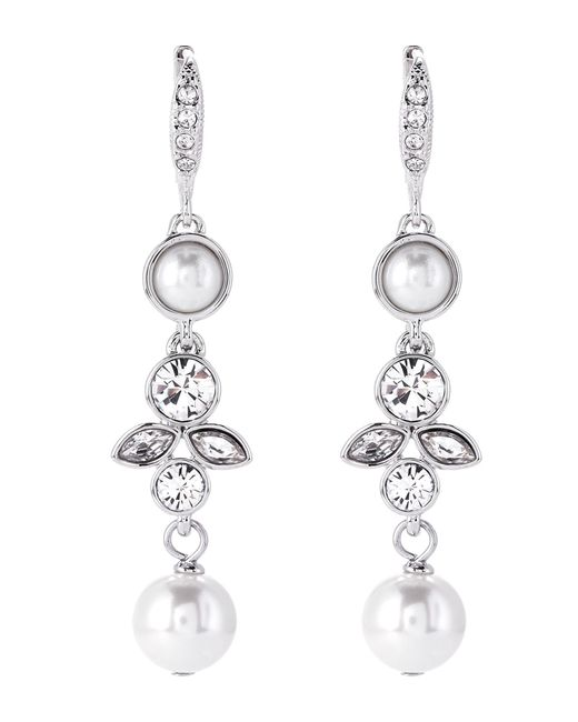 Givenchy - Metallic Silver-tone Double Drop Faux Pearl Earrings - Lyst