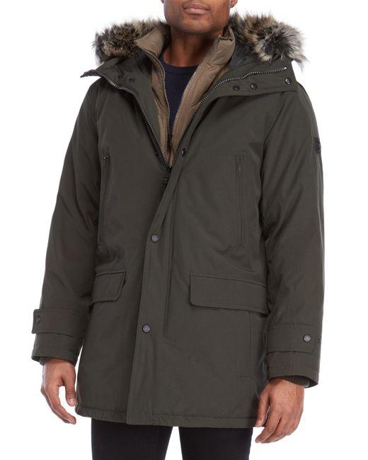 Michael Kors - Green Faux Fur Trim Hooded Parka for Men - Lyst