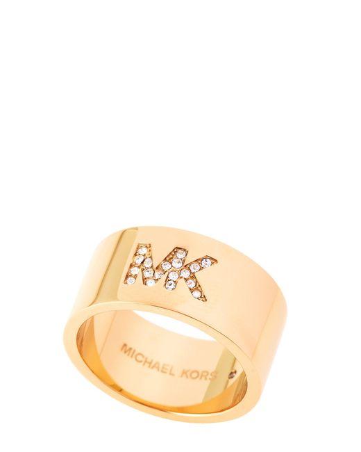 Michael Kors - Metallic Gold-tone Mk Pave Monogram Ring - Lyst