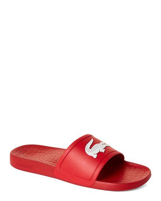 Lacoste Red & White Fraisier Slide Sandals