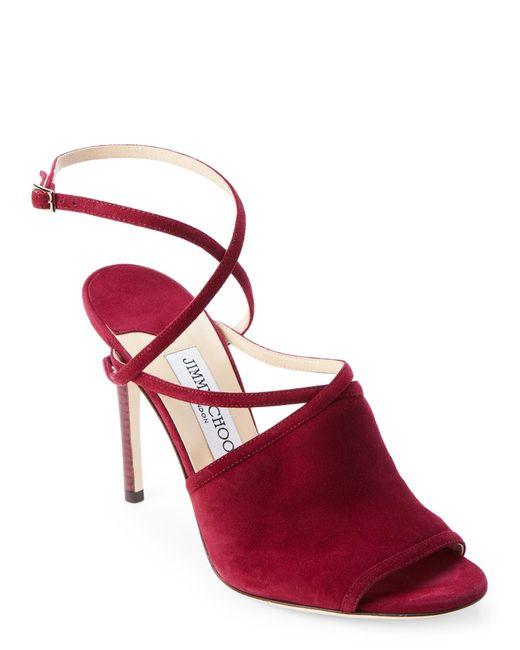 Jimmy Choo | Red Dark Wine Flora Crisscross Peep Toe Shoes | Lyst